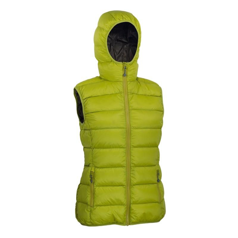 Warmpeace dámská péřová vesta YUBA mustard/brown